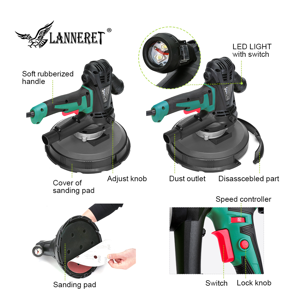 Image 3 - LANNERET Electric Drywall Sander Wall Polisher Machine 1280W / 850W Dry Wall Sander Polisher Variable Speed LED Light Dust Free-in Sanders from Tools on