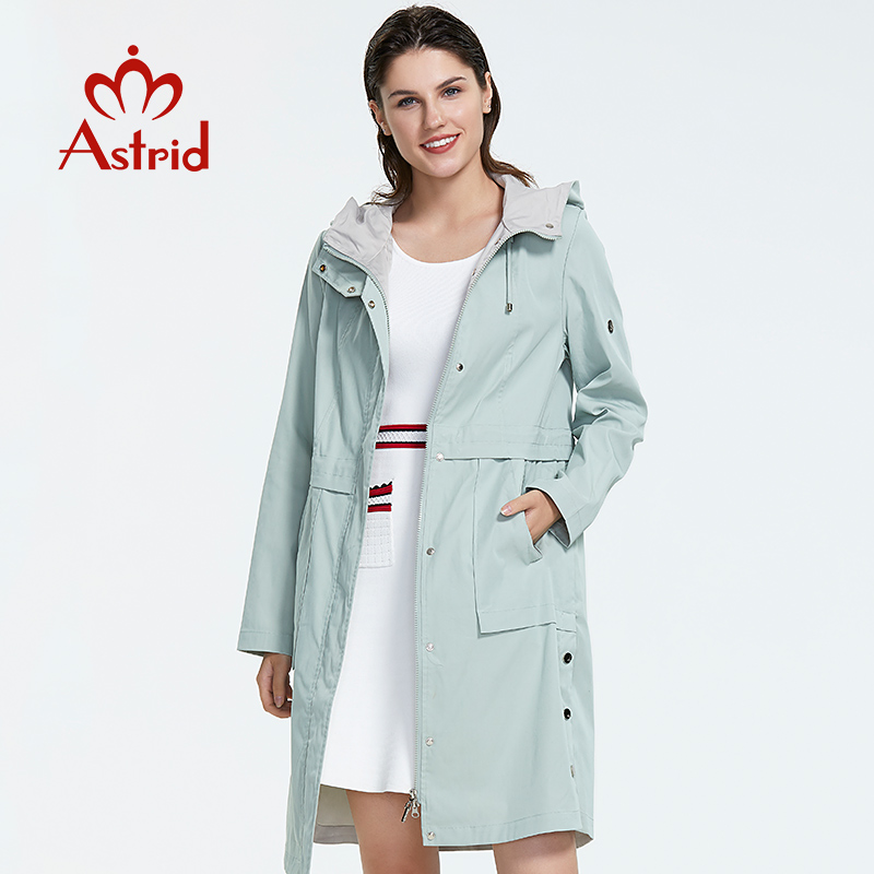Astrid 2019 new arrival plus size mid-length style   trench   coat for women with a hood spring-autumn light-colored wind AS-9020
