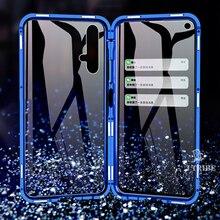 Luxo de absorção magnética metal flip cases para huawei honor 20 20i 20pro lite telefone capa dupla face vidro honor20 pro i 2019