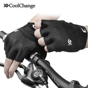 Image 5 - CoolChange – gants de cyclisme pour hommes et femmes, demi doigt, élastique, respirant, coussinet de GEL, gants de vélo, vtt, été