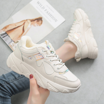 Winter Platform Sneakers Plush Casual Shoes Vulcanized Sneakers for Women Female Lace Up Spring Autumn Ladies Shoes
