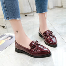 women single shoes woman flat bottom pointed patent leather flats shoes student bow tassel black leather shoes loafers shoes(China)