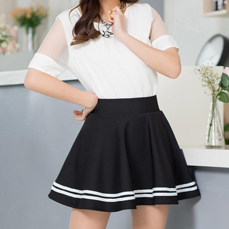 Pleated Skirts School-Uniform A-Line Lolita Girls Large-Size Kawaii Harajuku High-Waist