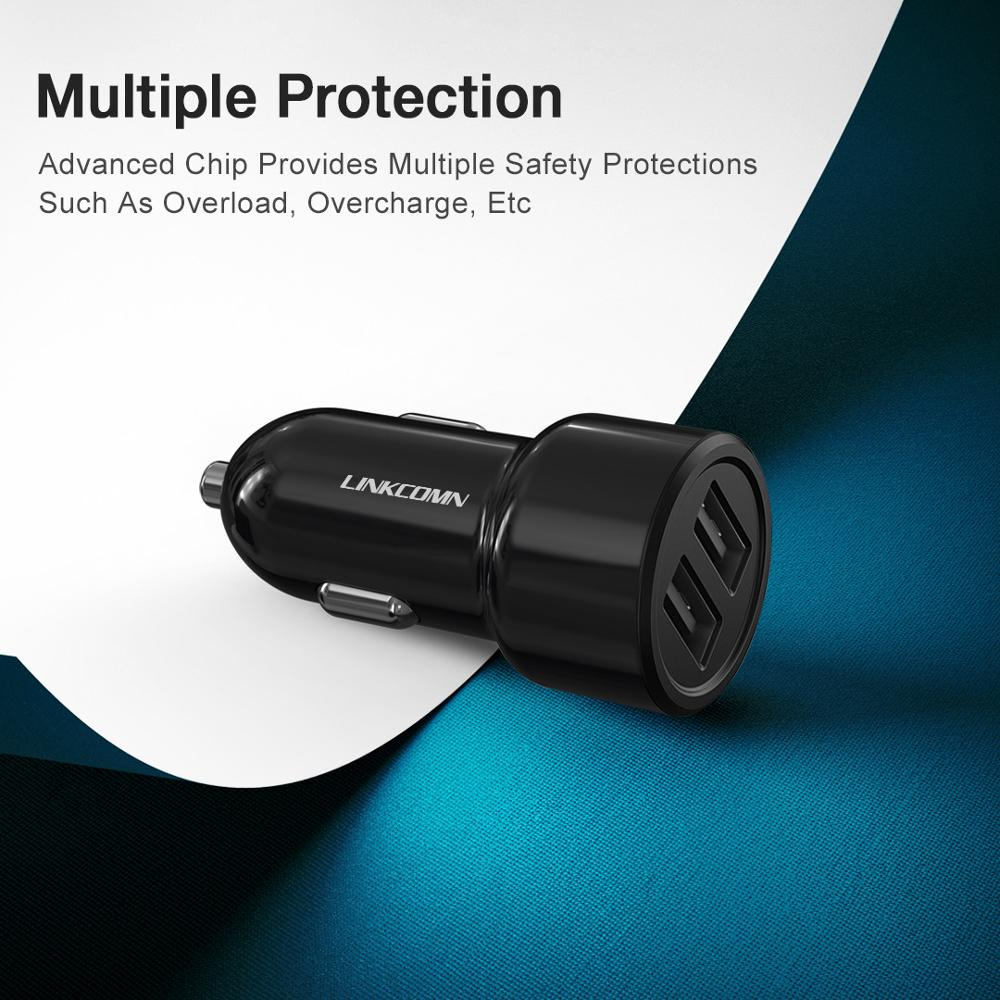 Купить с кэшбэком LINKCOMN Car Charger For iPhone x Samsung s10 Xiaomi mi 2.4 A Fast Car Charging USB Car Charger Adapter Mobile Phone Charger