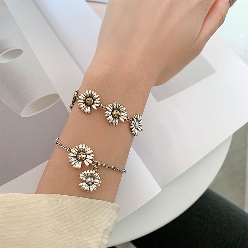 Браслет из тайского серебра 925 пробы, простое Ретро украшение с нишевой хризантемой для студенток, подарок для женщины на день рождения, опт...