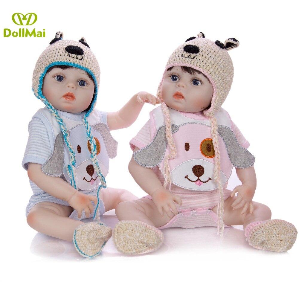 DollMai poupées bébé Reborn en vinyle Silicone Adorable 19 pouces Reborn bébé fille garçon poupée bébé jouet enfants cadeaux surprises