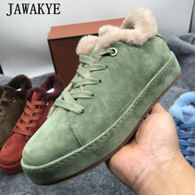Furry-Shoes Winter Sneakers Low-Top Suede Multicolor Women Lace-Up Wool for Round-Toe