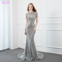 YQLNNE Luxury Silver Crystals Evening Dresses Long High Neck Cap Sleeve Mermaid Evening Gown Couture