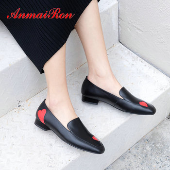 ANMAIRON 2020 Basic Genuine Leather Women High Heels Casual Slip-On Square Heel  PU Wedding Shoes Sweet Shoes Woman Size 34-39