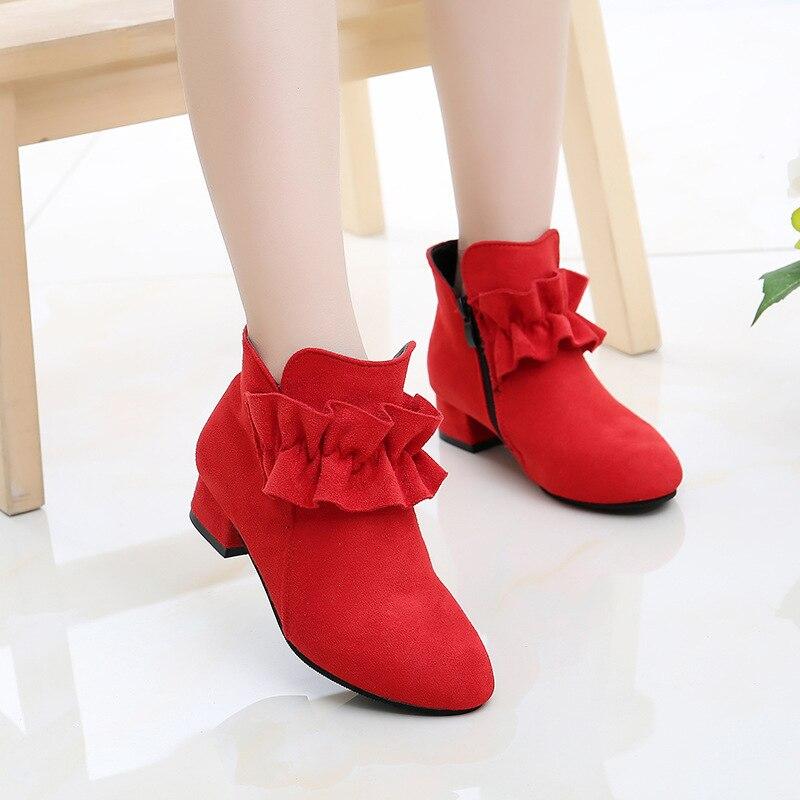Mumoresip Girls Boots Flock Fabric Warm Cotton Autumn Winter Kids Ankle Boots With Ruffles Children Princess High Heeled Boots|Boots| |  - title=