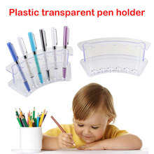 Pen Holder Transparent Acrylic Organizer Table School Supplies 6 Holes Multifunctional Stationery Cosmetic Organiser