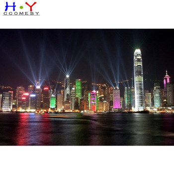 100% praise Scenery Hong Kong at night diamond painting square diamond embroidery Cross stitch rhinestones Wedding decoration image