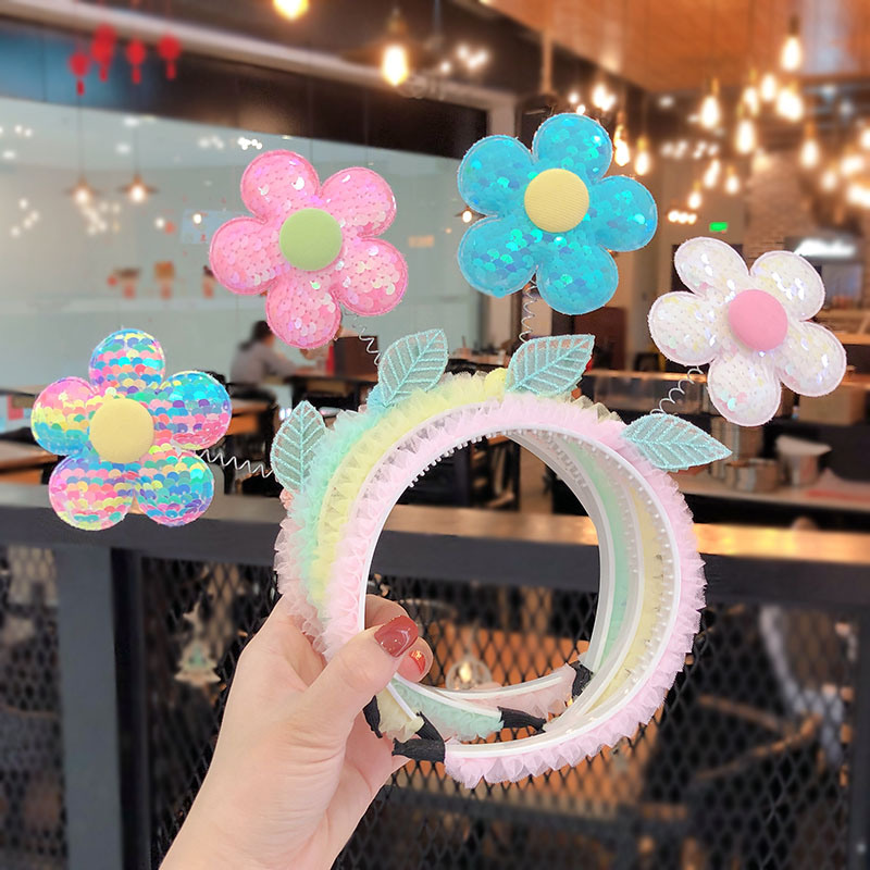 2020 Summer Children Cute Sweet Sequins Flower Mesh Lace Hair Hoop Hairbands Girls Lovely Colors Headbands Kids Hair Accessories