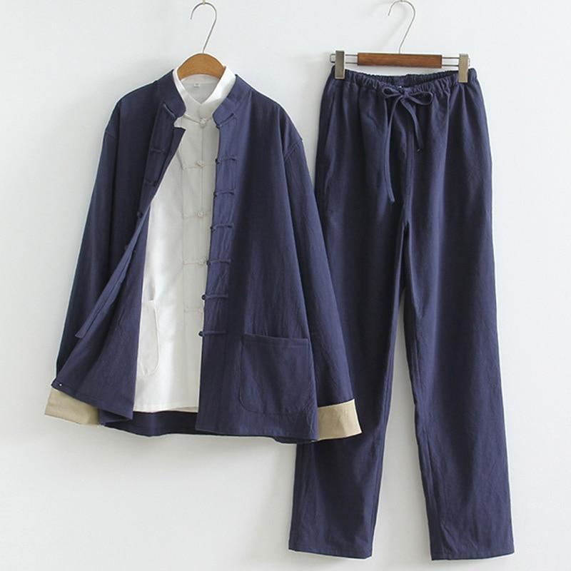 Традиционная китайская одежда для мужчин, 3 шт., однотонная льняная Униформа кунг фу тай чи в стиле ретро, женская повседневная одежда с длинным рукавом|Наборы| | АлиЭкспресс