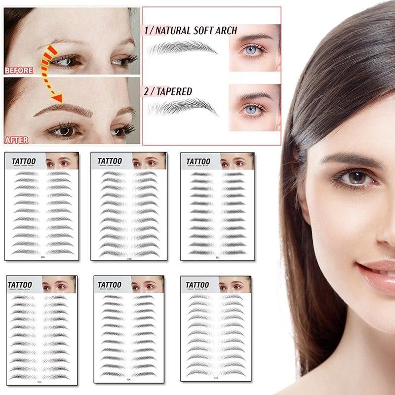4D Eyebrow Tattoo Sticker Waterproof Magic False Eyebrows Long-lasting Magic Makeup Brow Stickers 11 Pairs Makeup Cosmetics