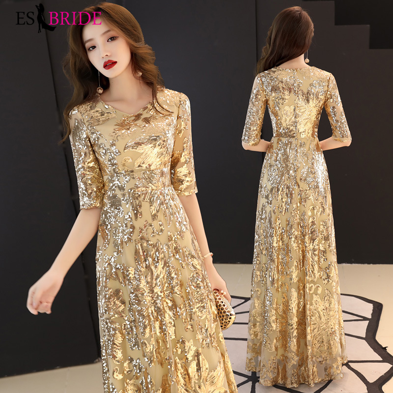Gorgeous Gold Formal Dresses Evening Gown Luxury Printing Vestido De Noche Evening Dress Elegant Evening Dresses Long ES2646