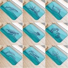 Fond bleu petit Animal antidérapant chambre tapis décoratif cuisine sol salon tapis de sol salle de bain tapis antidérapant 40x60cm.