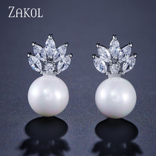 ZAKOL Hot Fashion Exclusive Imitation Pearl & Cubic Zirconia Crystal Stud Earrings With White Color For Women Gift FSEP473