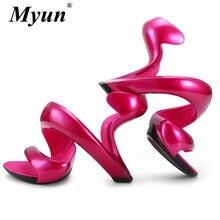 Women Sexy Sandals New Summer Style Fashion Bottomless Snake High Heels Platform