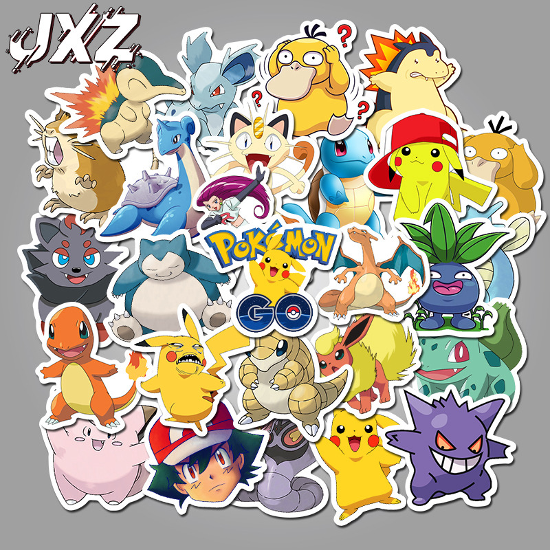 50Pcs/pack Pokemons Cartoon Stickers For Luggage Skateboard Phone Laptop Moto Bicycle Wall Guitar Sticker DIY Waterproof Sticker