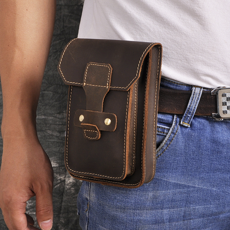 Real Original Leather Men Casual Design Small Waist Bag Pouch Fashion Hook Fanny Waist Belt Pack Case Phone Pouch 9966