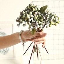 29 см мини Поддельные фрукты маленькие ягоды искусственный цветок вишня тычинка Свадьба Дом Рождество декоративные двойные головки тычинки