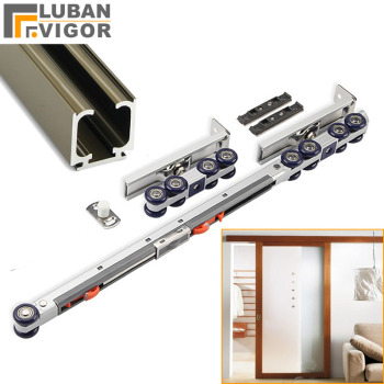 Two-Way Buffer Damping Danging Wheel,Roller,Slide Doors Pulley,Load 80kg,Aluminum Alloy Rail,Mute Safety,Anti-ollision