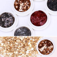 1 Box Autumn Maple Leaf Gold Silver Irregular Meteorite Fragment Nail Flakies Red Micas Sheets Art 3D Decorations Flakes