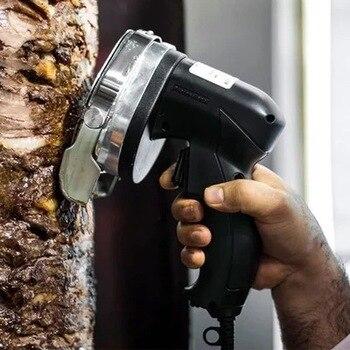 Rebanador eléctrico de Kebab, cuchillo para doner, cortador de Shawarma, máquina cortadora de carne manual, cuchillo giroscópico 220-240V 110V, dos cuchillas