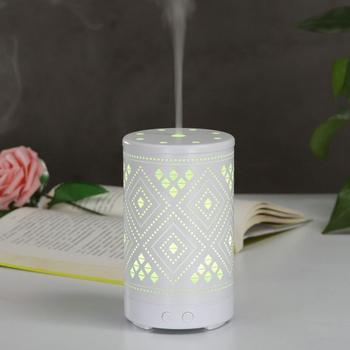 Hollow Iron Ultrasonic Air Humidifier Aroma Essential Oil Diffuser Fogger Mist Maker with LED Night Lamp for Home Office