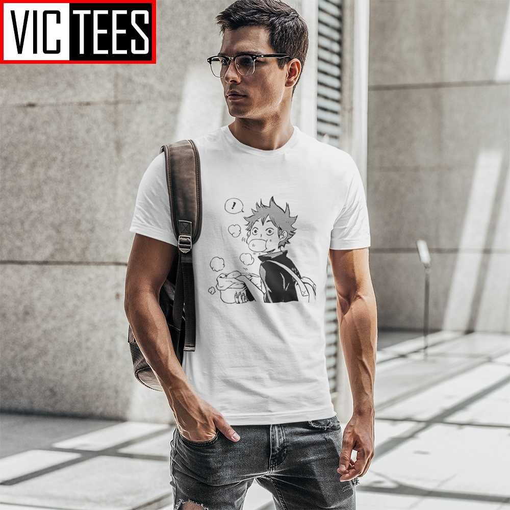 Haikyuu męskie koszulki Hinata jedzenie wieprzowe bułeczki komiks koszulki odzież męska 100% bawełniana koszulka duża