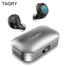 TAGRY Bluetooth Earphone TWS Earbuds Led Display 30H Playtime Binaural Call True Wireless Earphones Metal Charing Case with Mic