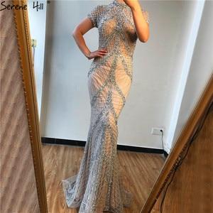 Image 3 - Şampanya yüksek yaka seksi abiye Mermaid payetli kısa kollu lüks abiye tasarım 2020 Serene tepe LA70196