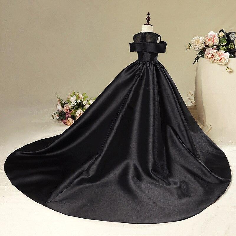 Princess Dress Girls Evening Dress Children Wedding Dress Black And White With Pattern Catwalks Tailing Skirt Small Host Piano C