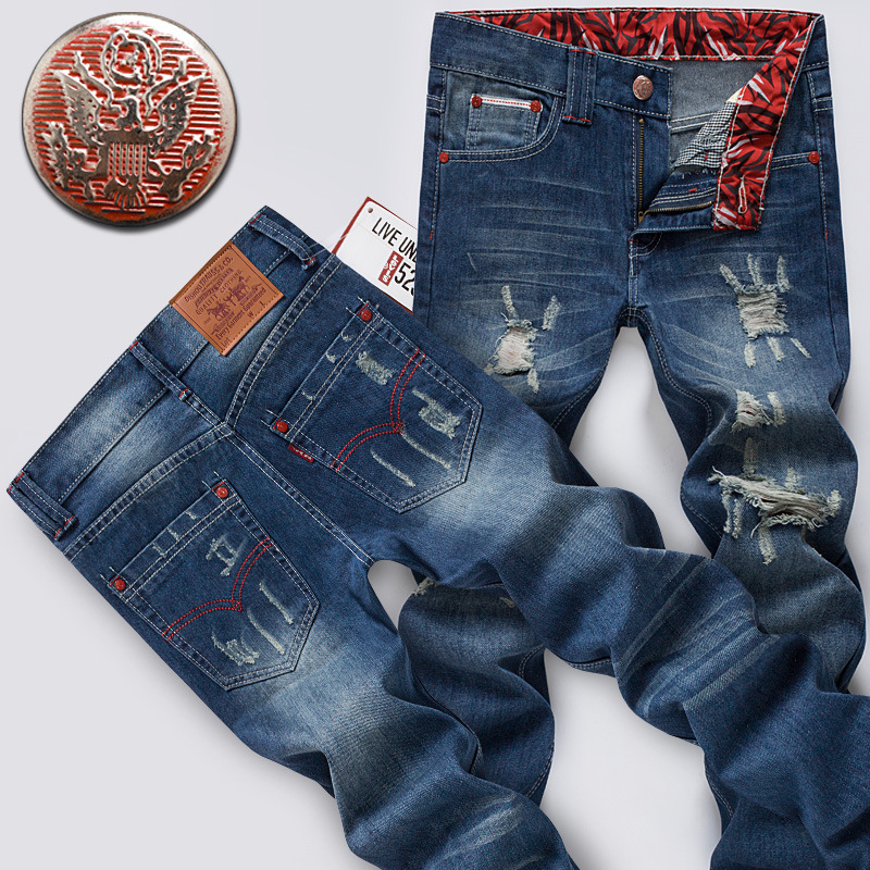 MEN'S Casual Pants Straight-Cut With Holes Revers Cowboy Long Pants Summer Thin Section Fashion Man Jeans Slim Fit Long Pants
