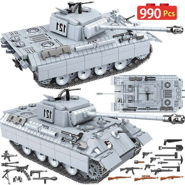 990 قطعة دبابة الفهد العسكرية 121 اللبنات لمدينة تكنيك WW2 دبابة الجندي سلاح الجيش 100064 الطوب الاطفال اللعب