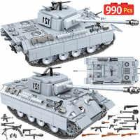990 pçs tanque pantera militar 121 blocos de construção para a cidade técnica ww2 tanque soldado arma exército 100064 tijolos crianças brinquedos