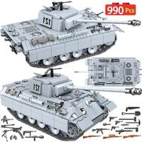 990PCS Military Panther Tank 121 Building Blocks Legoing Technic City WW2 Tank Soldier Weapon Army 100064 Bricks Kids Toys