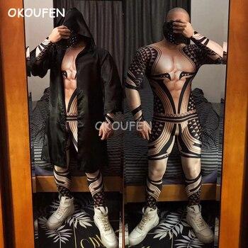 Костюм на Хэллоуин, сексуальные фальшивые мускулы комбинезон с 3d принтом, татуировка, бар, ночной клуб, мужской певец, черная накидка, сцена,