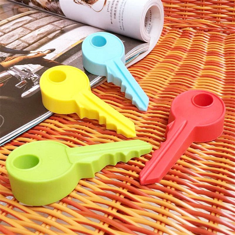 Holder Children Kids Good Safety Guard Home Decor Finger Protector New Hot Sale 4 Colors Cute Key Shaped Silicone Door Stopper