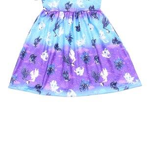 Image 3 - Butik kız karikatür elbise yüksek kaliteli çarpıntı kollu Frocks çocuklar kızlar için bir çizgi mavi mor süt ipek elbiseler çocuklar