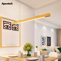 Wood Led Pendant Light Linear Bar Horizontal Hanging Lamp 80cm 120cm Dining Room Kitchen Office Lighting Fixture Suspension Lamp