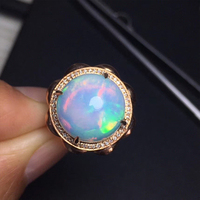 Natural Opal ring Bare stone 6ct size 13.8*13.8mm 18k Rose Golden matching natural South Africa Diamonds