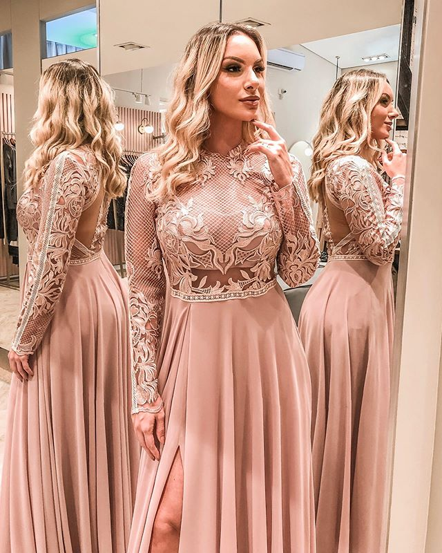 Stylish Pink Split Prom Dresses Long Sleeve Cheap Evening Gowns A Line Lace Formal Dress