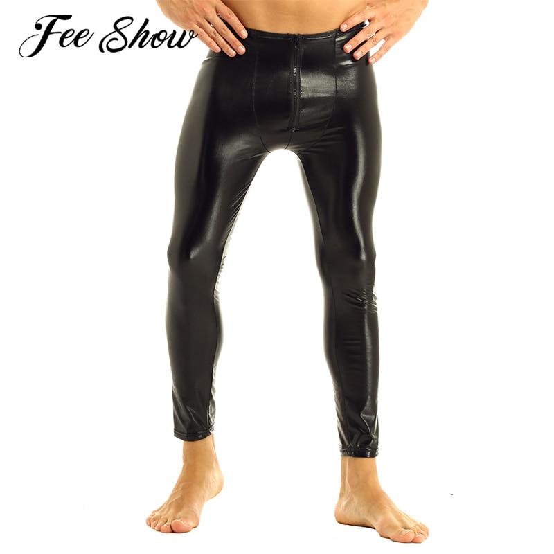 Men/'s Lingerie Leggings Sissy Bulge Pouch Shiny Metallic Leather Trousers Pants