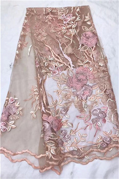 Excellent tulle lace cloth flower embroidery net lace fabric French lace fabric for party dress PDN552(5yards/lot)