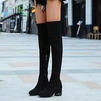 Women Ladies Sexy Over Kneeth Long Shaft Fashion Winter Med Zipper Boots Female Sexy Shoes Female Winter Shoes Boots #907