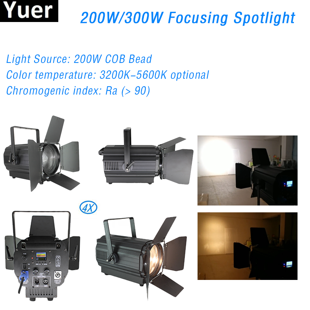 4Pcs/Lot 200W Electric Focusing Stage Light 3200K-5600K Color Temperature Led Spotlight DJ Light Dmx Control LED Strobo Flash