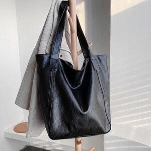 Image 3 - Burminsa Vintage grande capacité sac à bandoulière souple pour femmes bureau dames grand travail A4 sacs à main de haute qualité en cuir PU fourre tout sacs