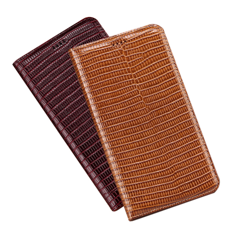 Lizard texture genuine leather magnetic holster case for <font><b>Samsung</b></font> Galaxy A9 Pro <font><b>A9100</b></font>/Galaxy C9 Pro C9100 phone cover card slot image